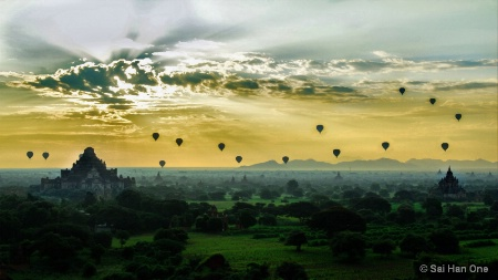 Balloons over misty Bagan