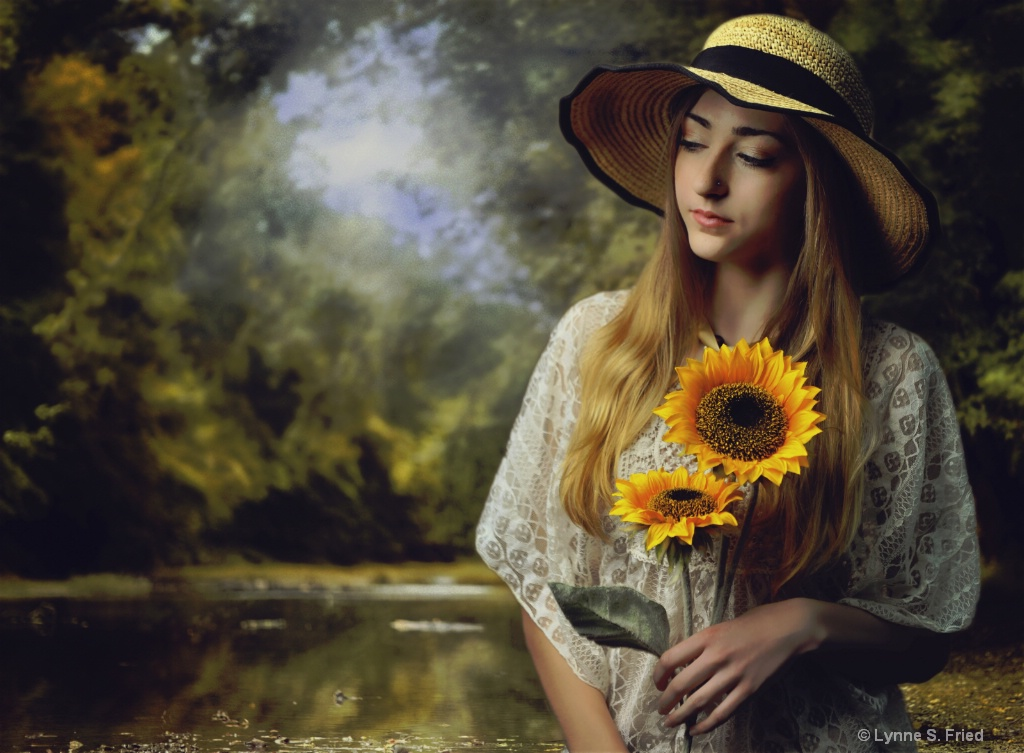 A girl and her Sunflower