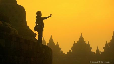 The lady traveller in Borobudur