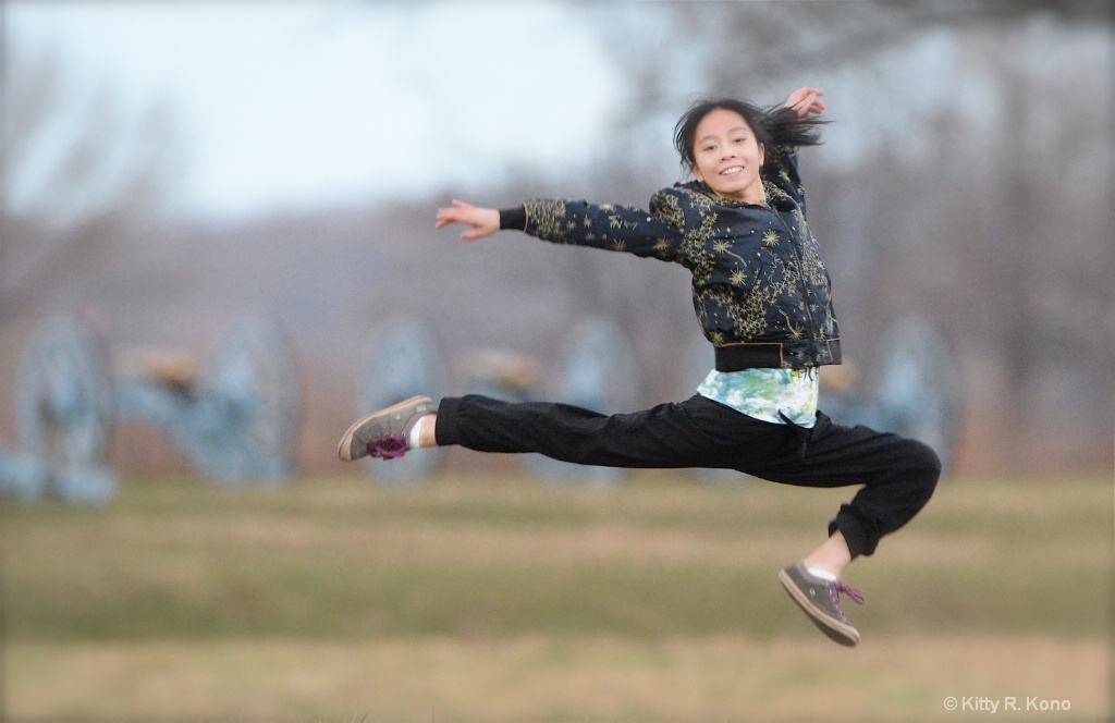 Yumiko Leaping in Valley Forge  - ID: 15292501 © Kitty R. Kono