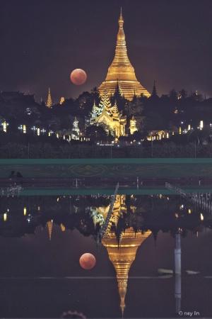 Shwe Dagon Pagoda with Blood Moon