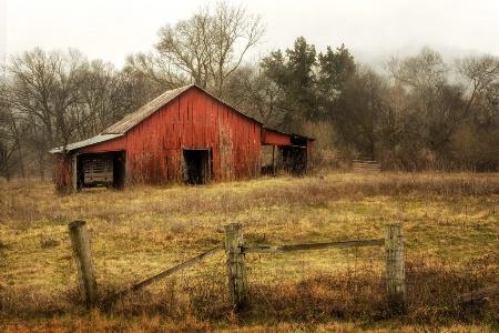 Red Barn In Rain I
