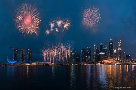 Panorama of Singapore Skyline with Fireworks