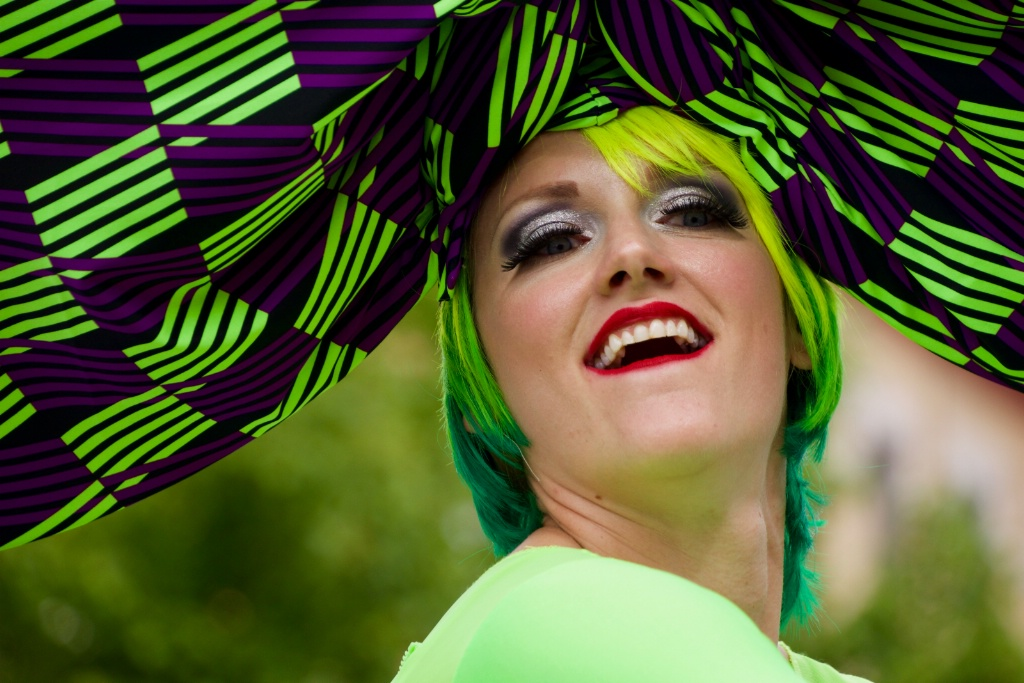 woman in acid green