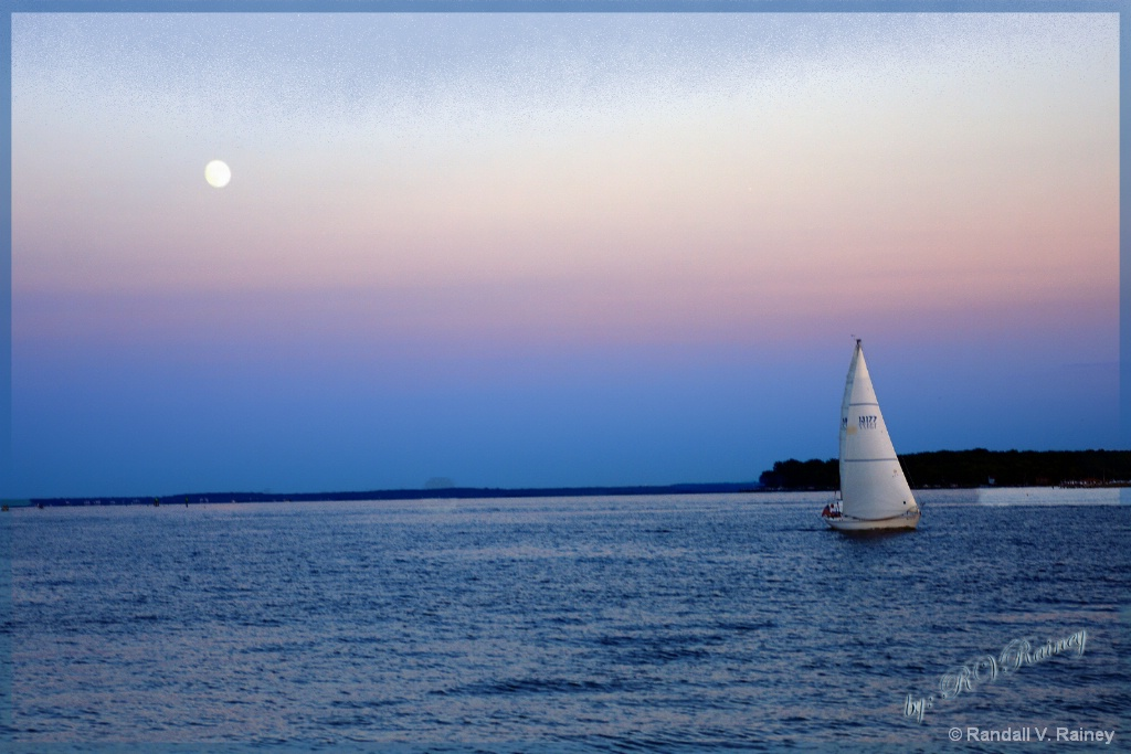 Tranquil Sail under the moon at sunset . . . - ID: 15671402 © Randall V. Rainey