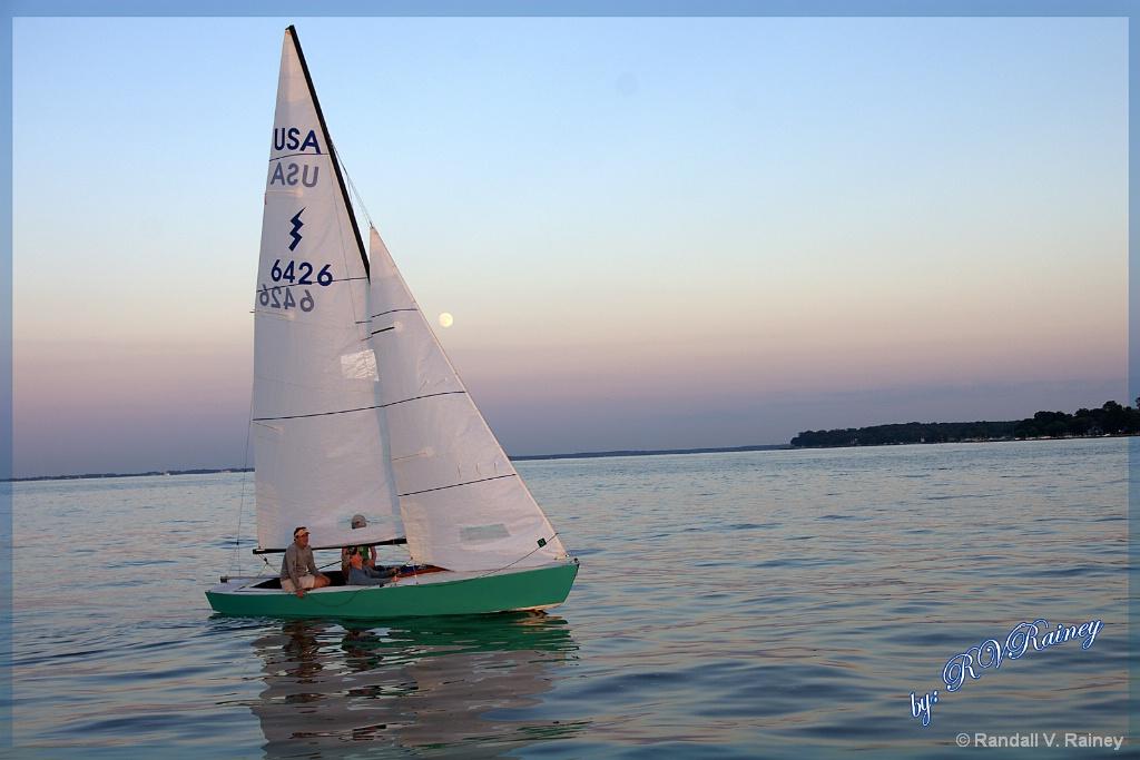 Calm Moonlit at Sunset Sail - ID: 15672146 © Randall V. Rainey