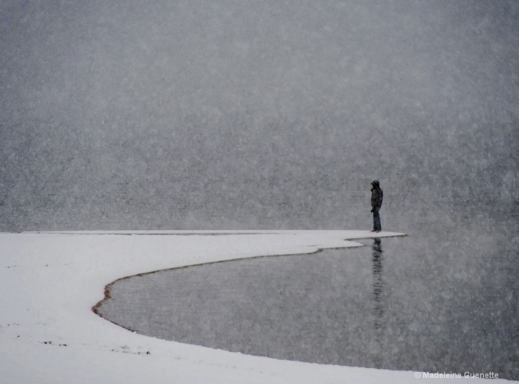 Alone on the snowy beach