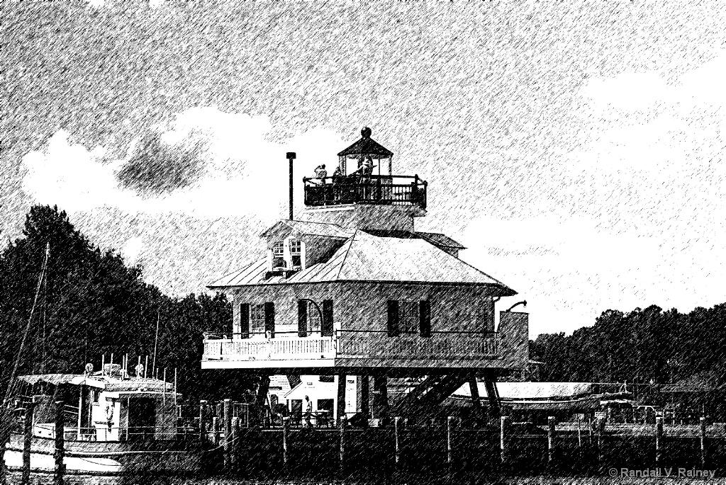 Hooper Island Lighthouse Pencil Sketch - ID: 15702529 © Randall V. Rainey
