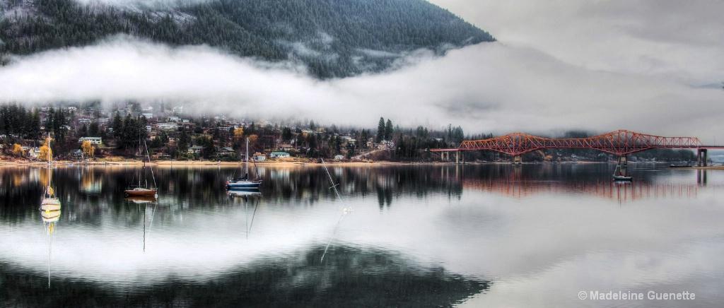 Kootenay lake in the fog